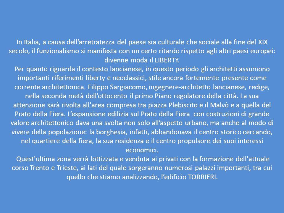 In Italia, a causa dell'arretratezza del paese sia culturale che sociale alla fine del XIX secolo, il funzionalismo si manifesta con un certo ritardo rispetto agli altri paesi europei: divenne moda il LIBERTY.