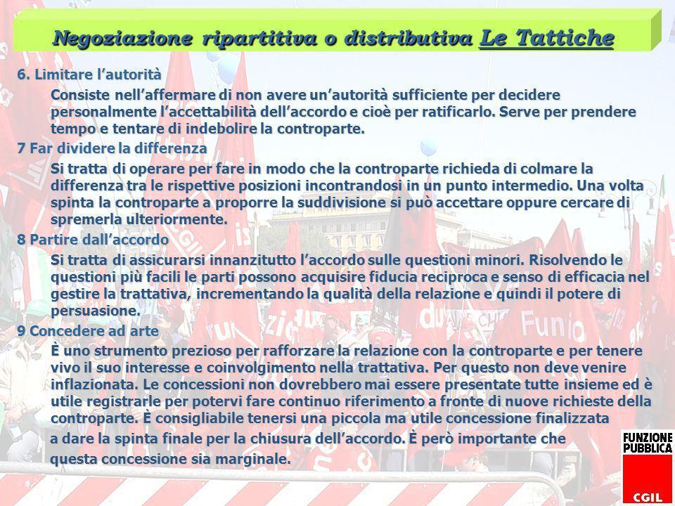 Negoziazione ripartitiva o distributiva Le Tattiche
