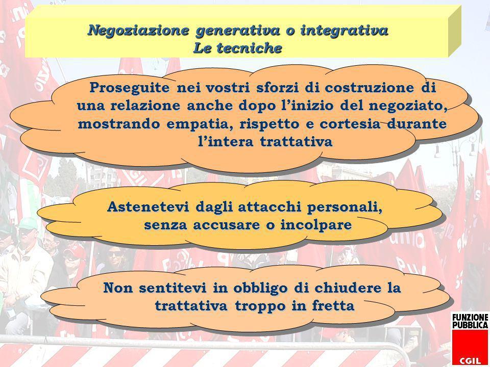 Negoziazione generativa o integrativa Le tecniche
