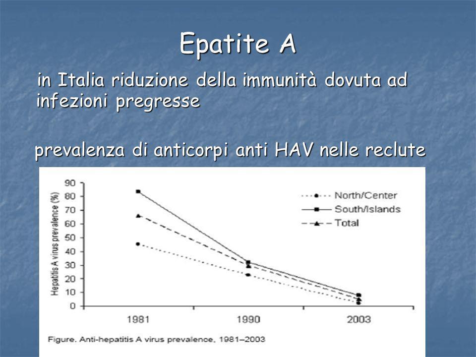 Epatite A in Italia riduzione della immunità dovuta ad infezioni pregresse.