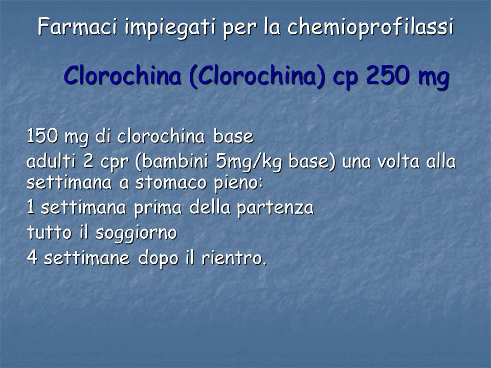 Farmaci impiegati per la chemioprofilassi
