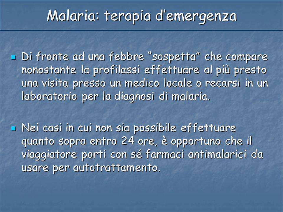 Malaria: terapia d'emergenza