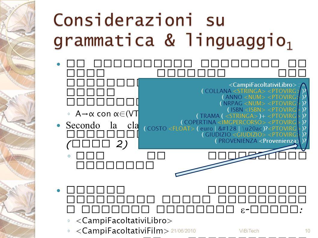Considerazioni su grammatica & linguaggio1