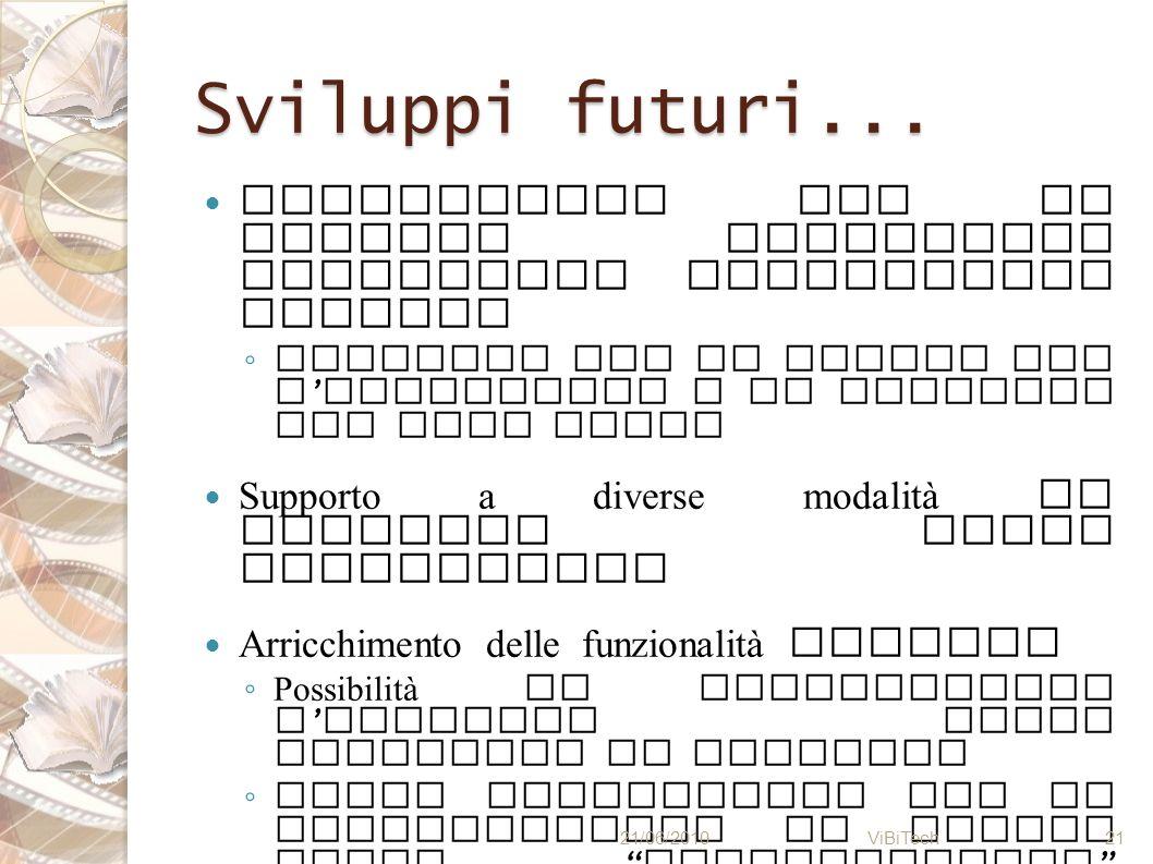 Sviluppi futuri... Interazione con il sistema unicamente attraverso interfaccia grafica.