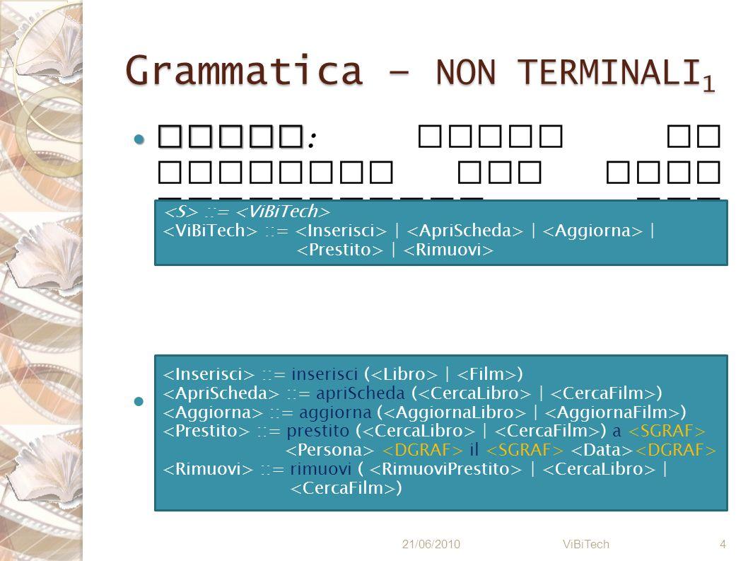 Grammatica – NON TERMINALI1
