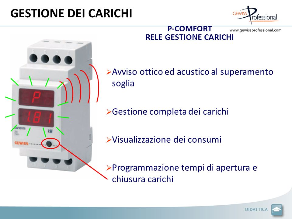 GESTIONE DEI CARICHI Avviso ottico ed acustico al superamento soglia
