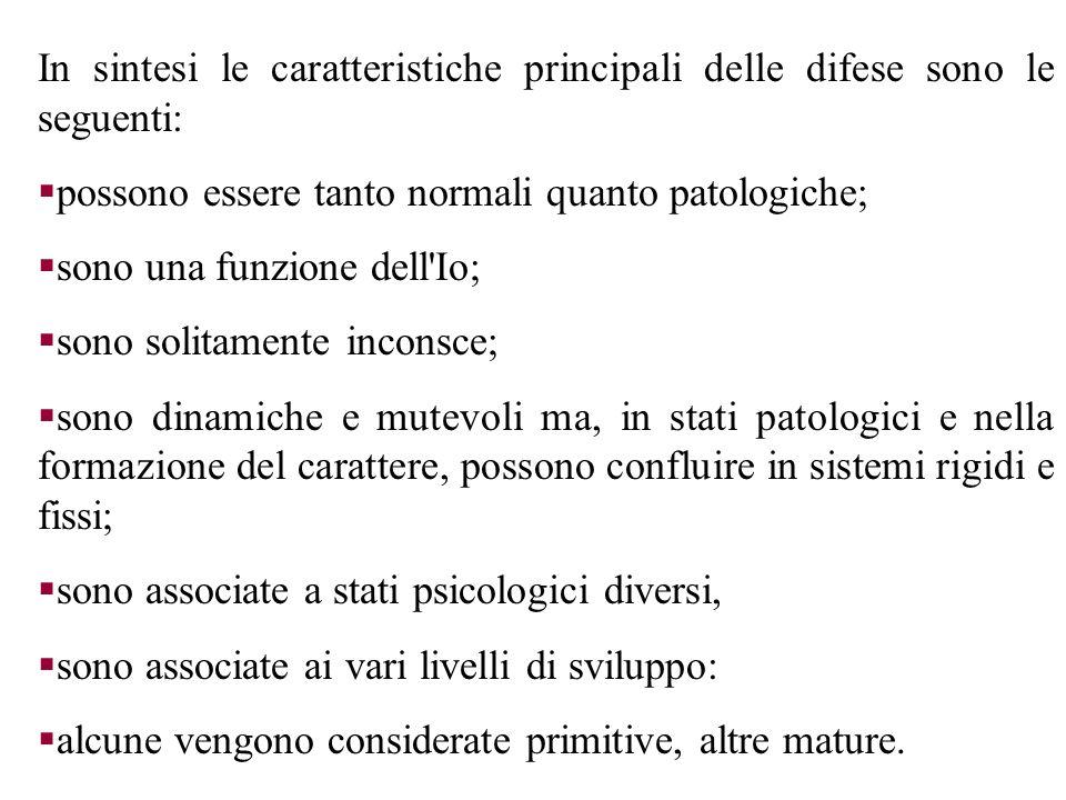 In sintesi le caratteristiche principali delle difese sono le seguenti: