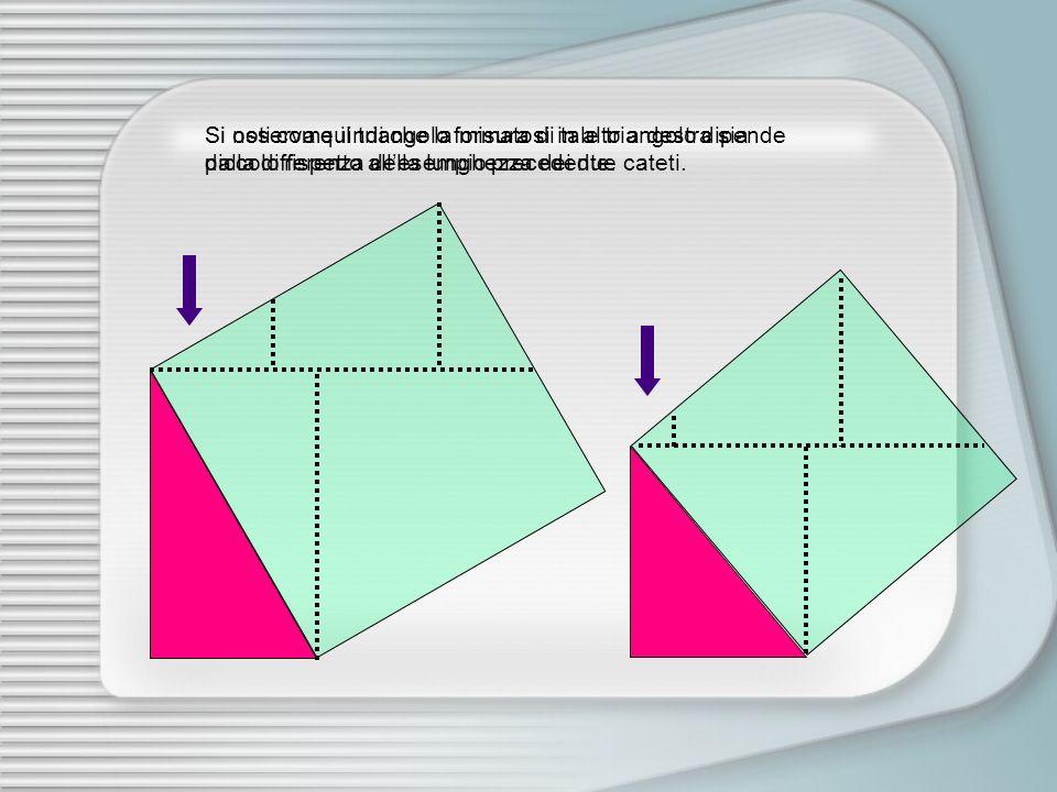 Si osserva quindi che la misura di tale triangolo dipende dalla differenza della lunghezza dei due cateti.