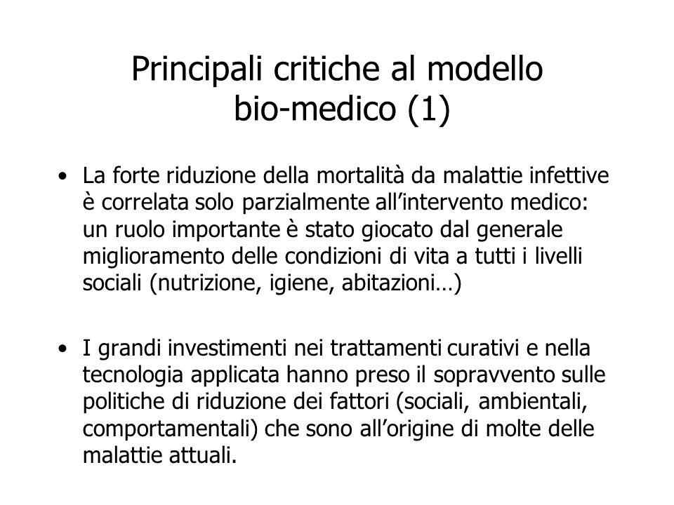 Principali critiche al modello bio-medico (1)