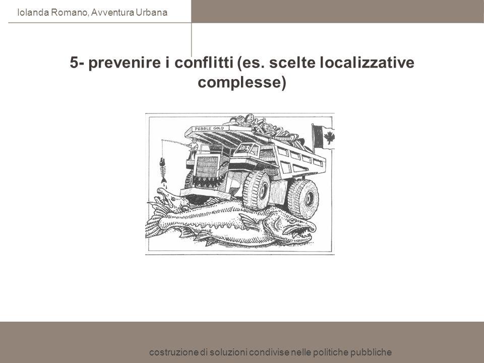 5- prevenire i conflitti (es. scelte localizzative complesse)