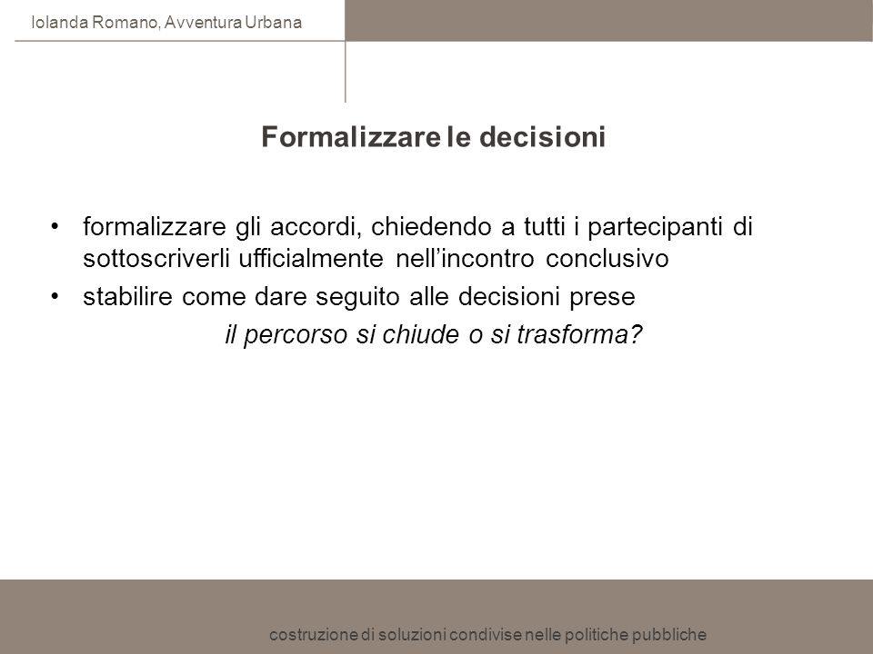 Formalizzare le decisioni