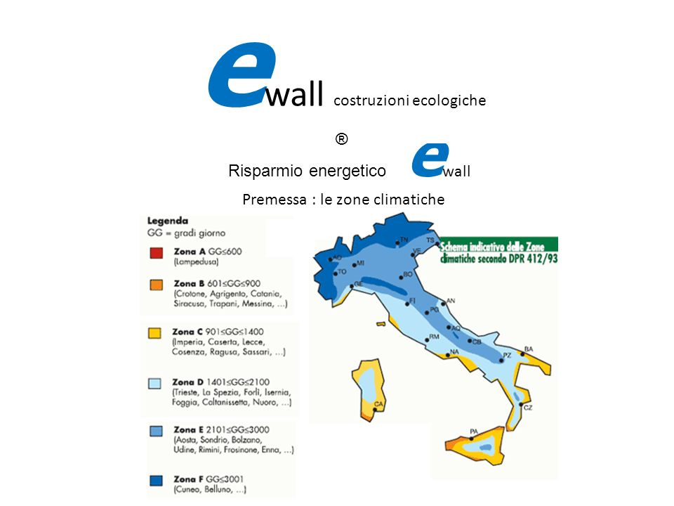 Risparmio energetico ewall Premessa : le zone climatiche