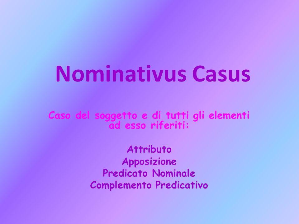 Nominativus Casus Caso del soggetto e di tutti gli elementi ad esso riferiti: Attributo. Apposizione.