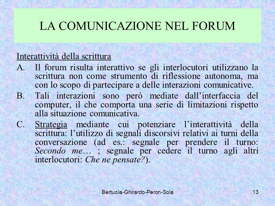 LA COMUNICAZIONE NEL FORUM