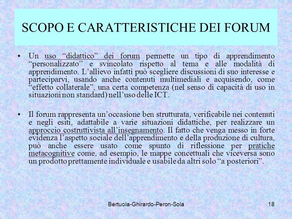 SCOPO E CARATTERISTICHE DEI FORUM