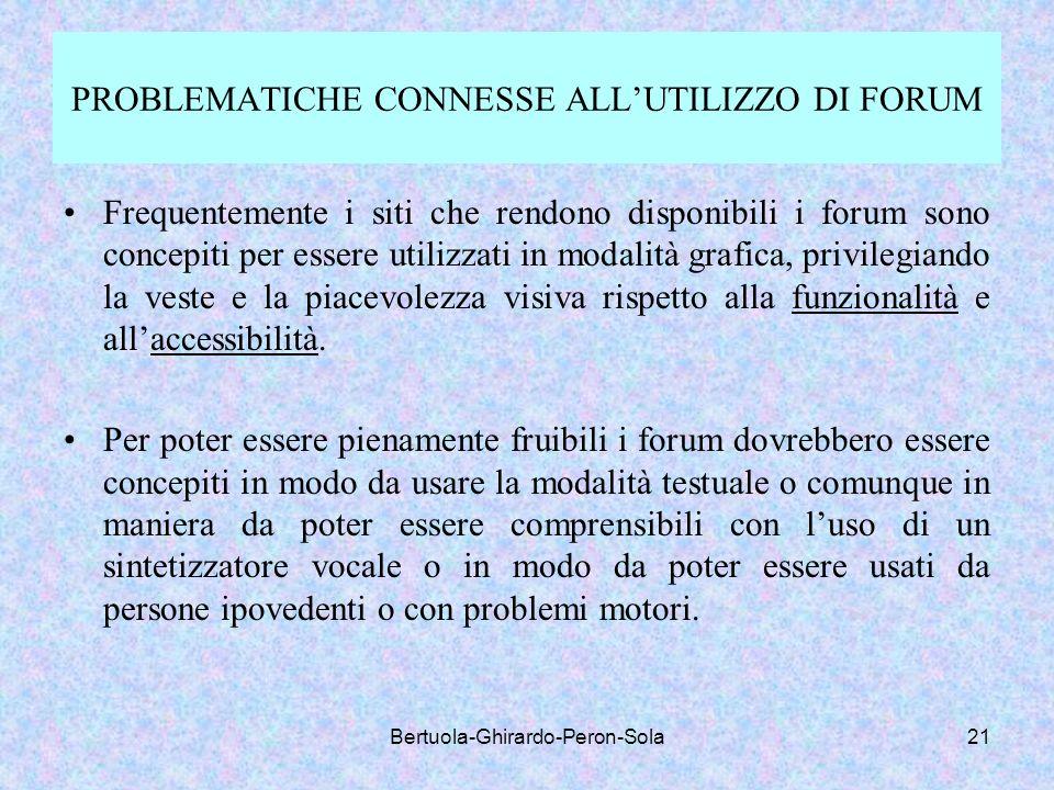 PROBLEMATICHE CONNESSE ALL'UTILIZZO DI FORUM