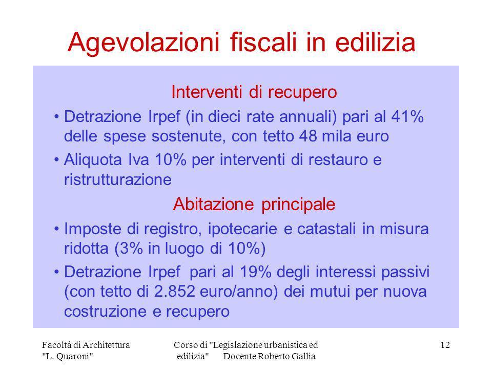 Agevolazioni fiscali in edilizia