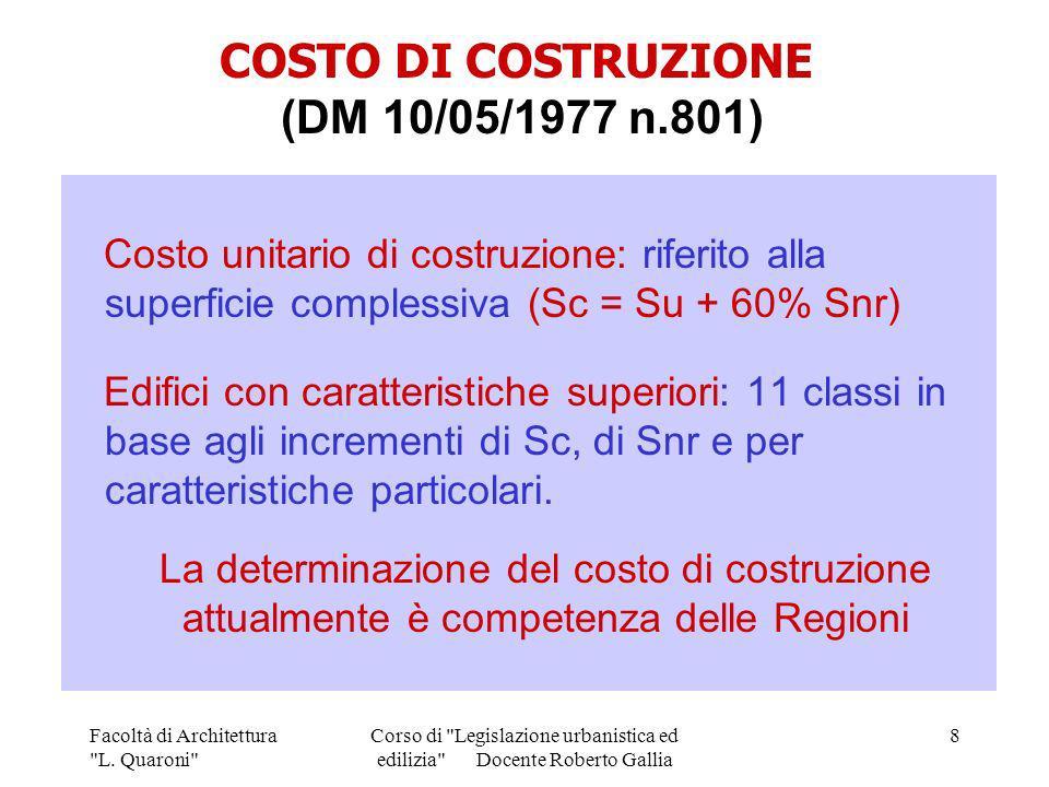 COSTO DI COSTRUZIONE (DM 10/05/1977 n.801)