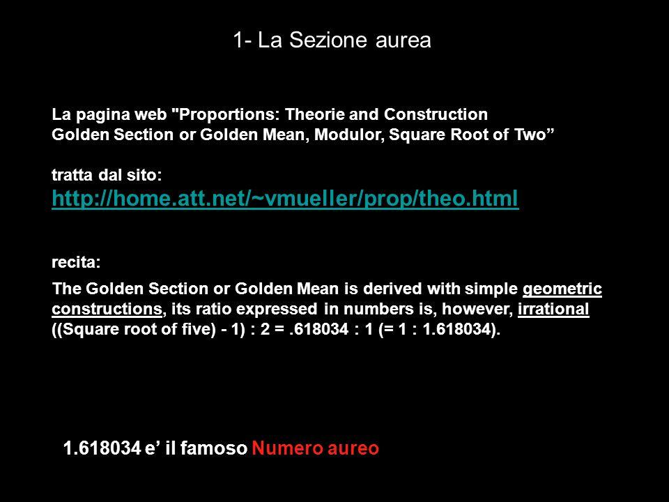 1- La Sezione aurea http://home.att.net/~vmueller/prop/theo.html