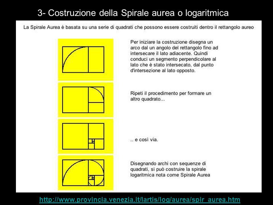 3- Costruzione della Spirale aurea o logaritmica