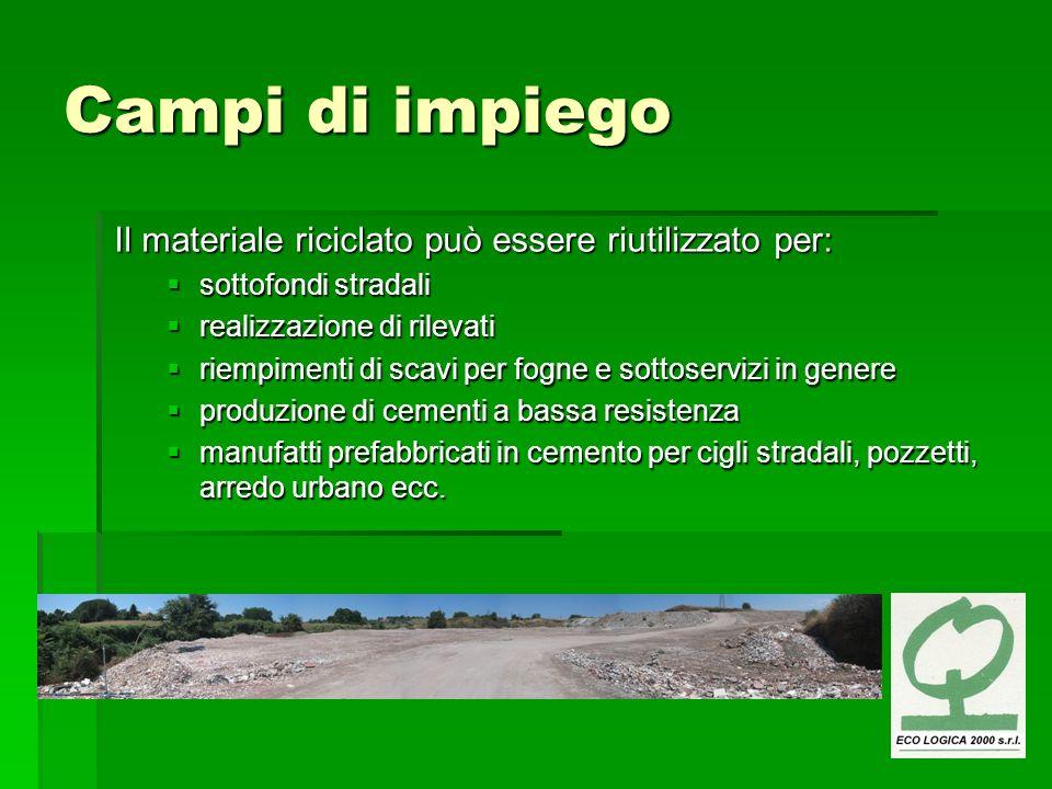 Campi di impiego Il materiale riciclato può essere riutilizzato per: