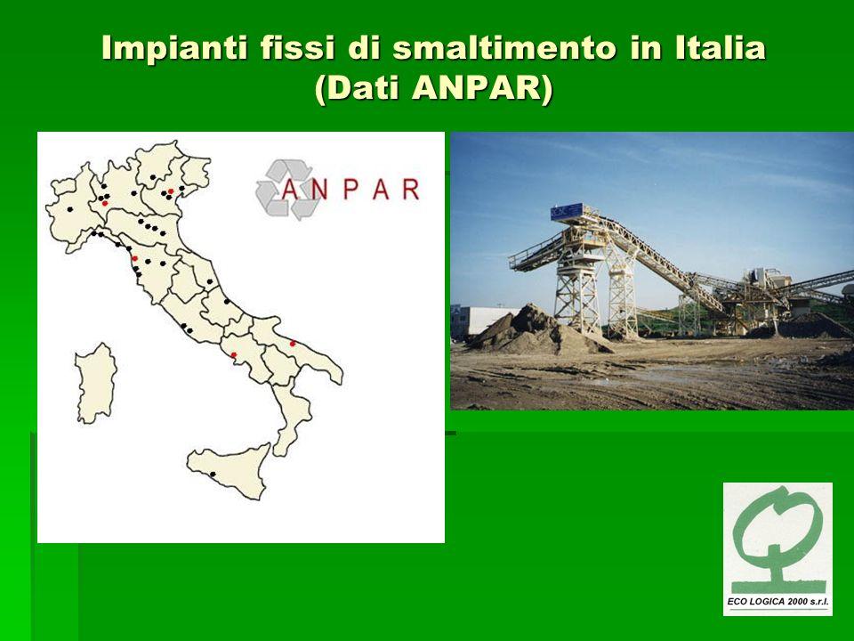 Impianti fissi di smaltimento in Italia (Dati ANPAR)