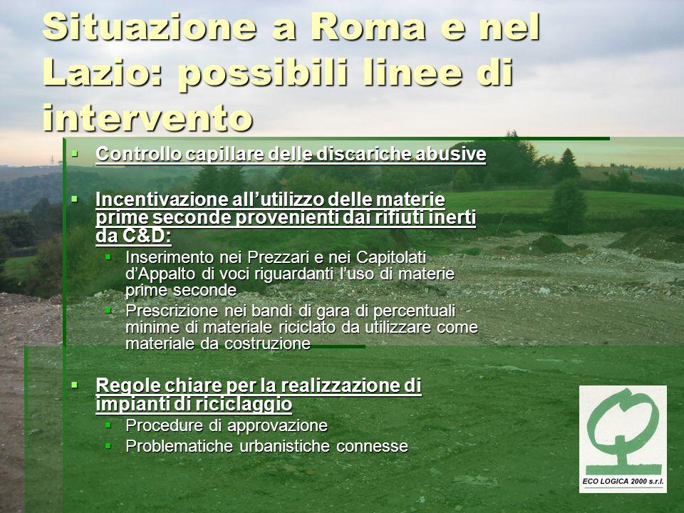Situazione a Roma e nel Lazio: possibili linee di intervento