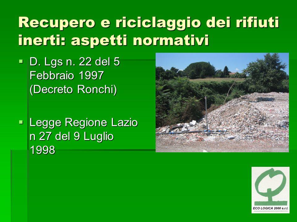 Recupero e riciclaggio dei rifiuti inerti: aspetti normativi