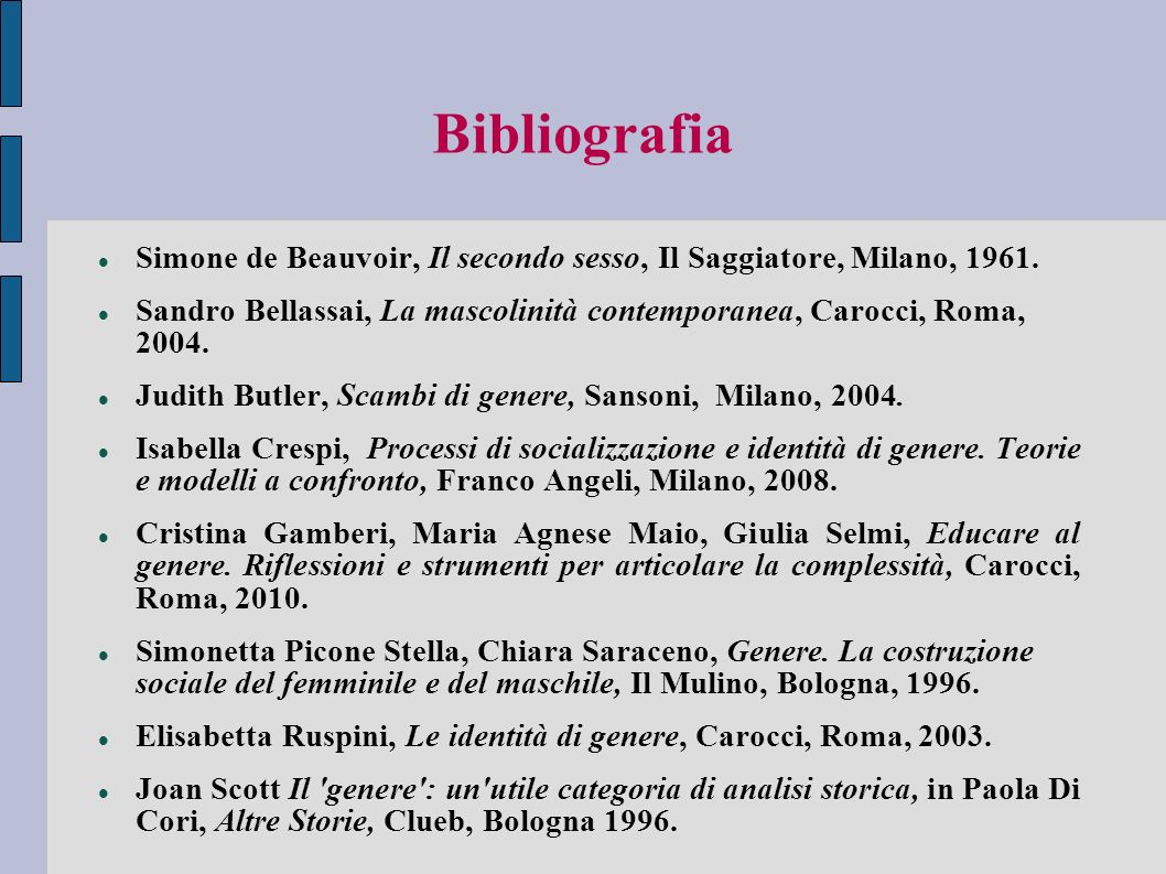 Bibliografia Simone de Beauvoir, Il secondo sesso, Il Saggiatore, Milano, 1961.