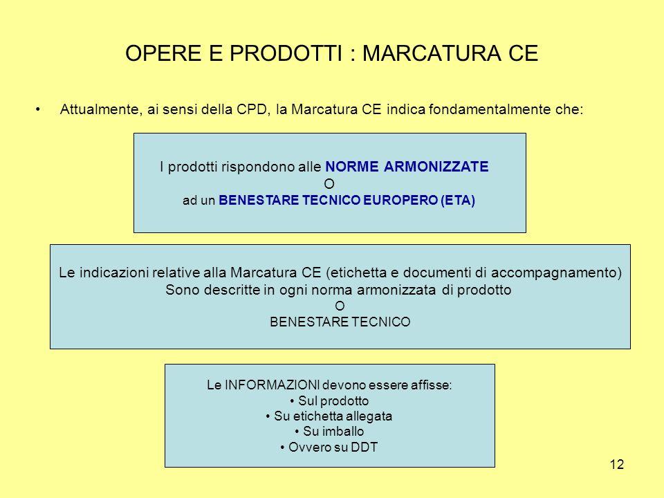 OPERE E PRODOTTI : MARCATURA CE