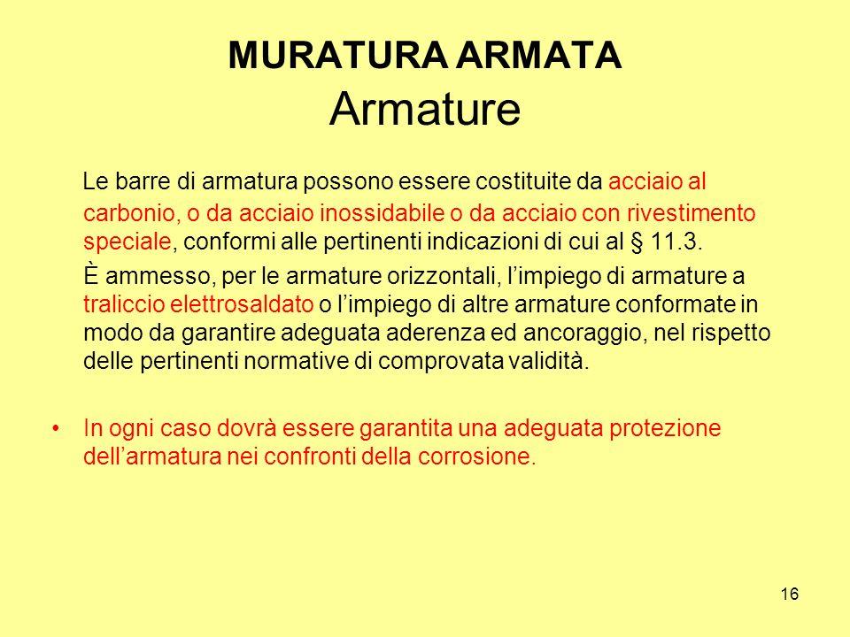 MURATURA ARMATA Armature
