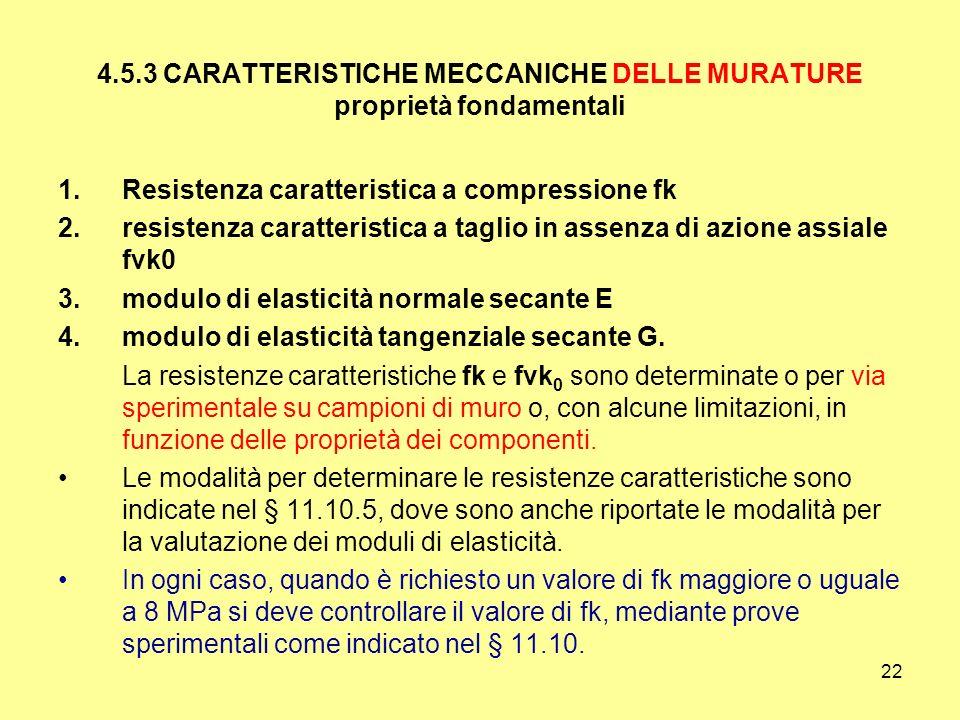 4.5.3 CARATTERISTICHE MECCANICHE DELLE MURATURE proprietà fondamentali