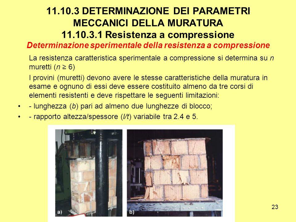 11. 10. 3 DETERMINAZIONE DEI PARAMETRI MECCANICI DELLA MURATURA 11. 10
