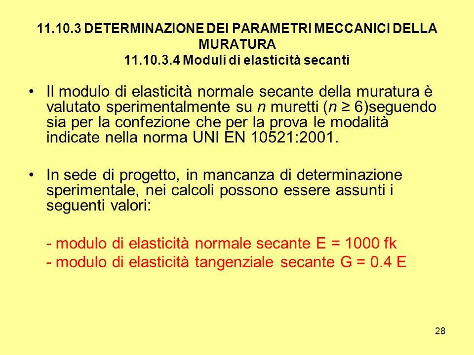 - modulo di elasticità normale secante E = 1000 fk