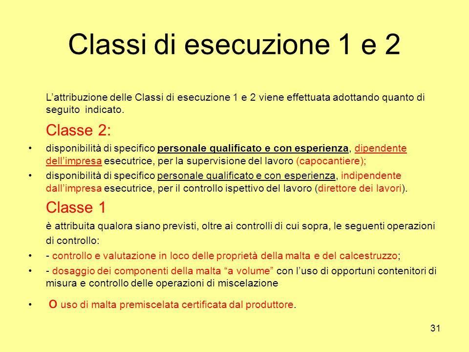 Classi di esecuzione 1 e 2 L'attribuzione delle Classi di esecuzione 1 e 2 viene effettuata adottando quanto di seguito indicato.
