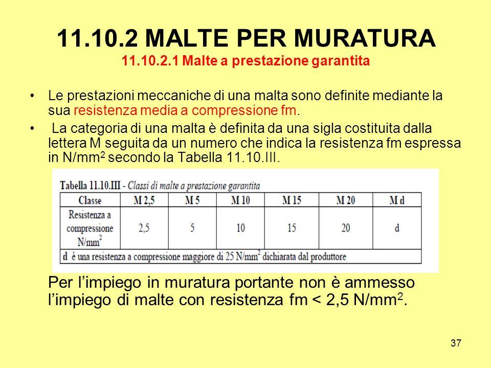 11.10.2 MALTE PER MURATURA 11.10.2.1 Malte a prestazione garantita