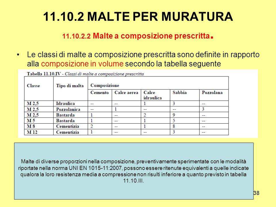 11.10.2 MALTE PER MURATURA 11.10.2.2 Malte a composizione prescritta.
