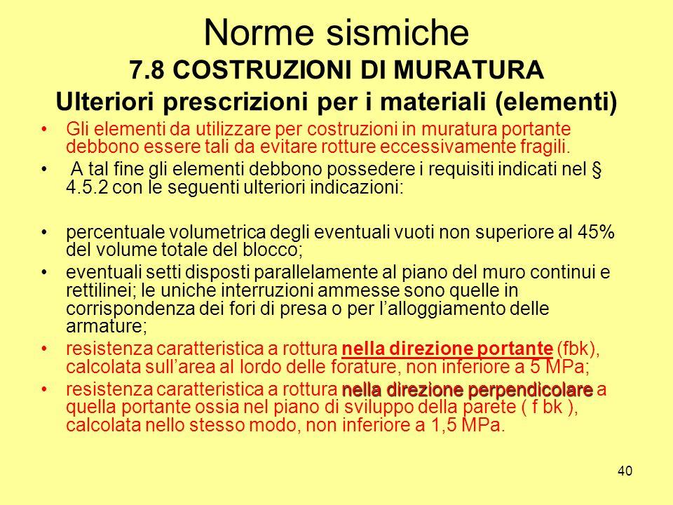 Norme sismiche 7.8 COSTRUZIONI DI MURATURA Ulteriori prescrizioni per i materiali (elementi)