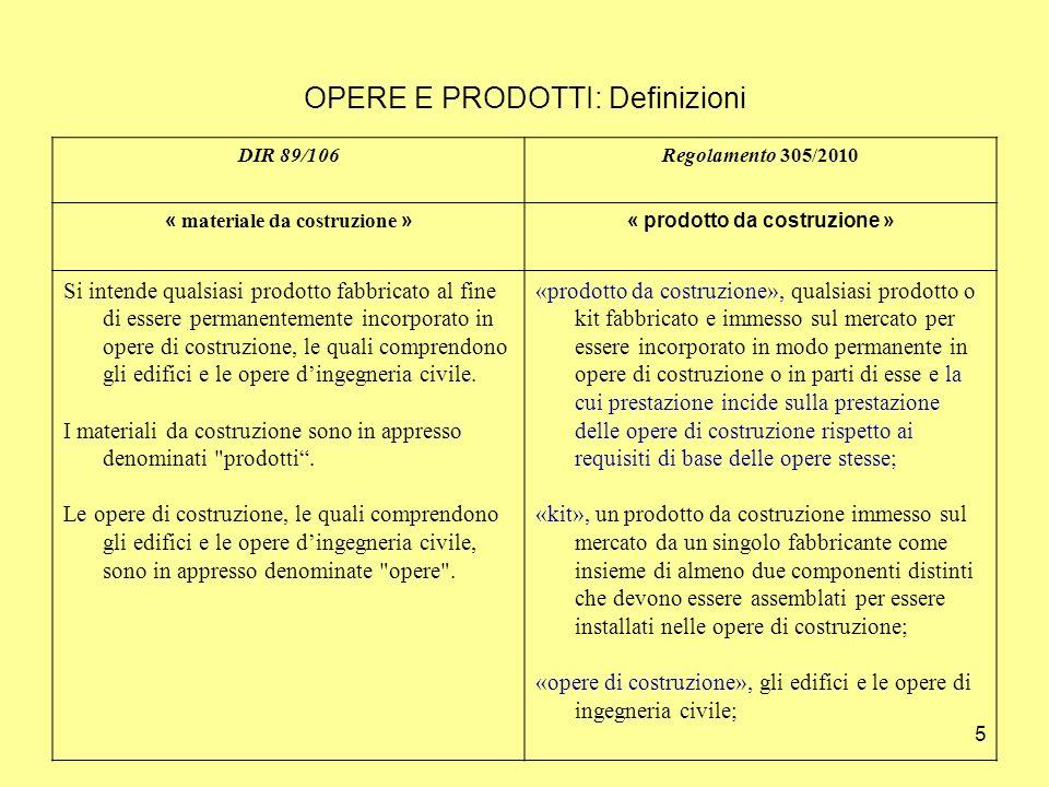 OPERE E PRODOTTI: Definizioni