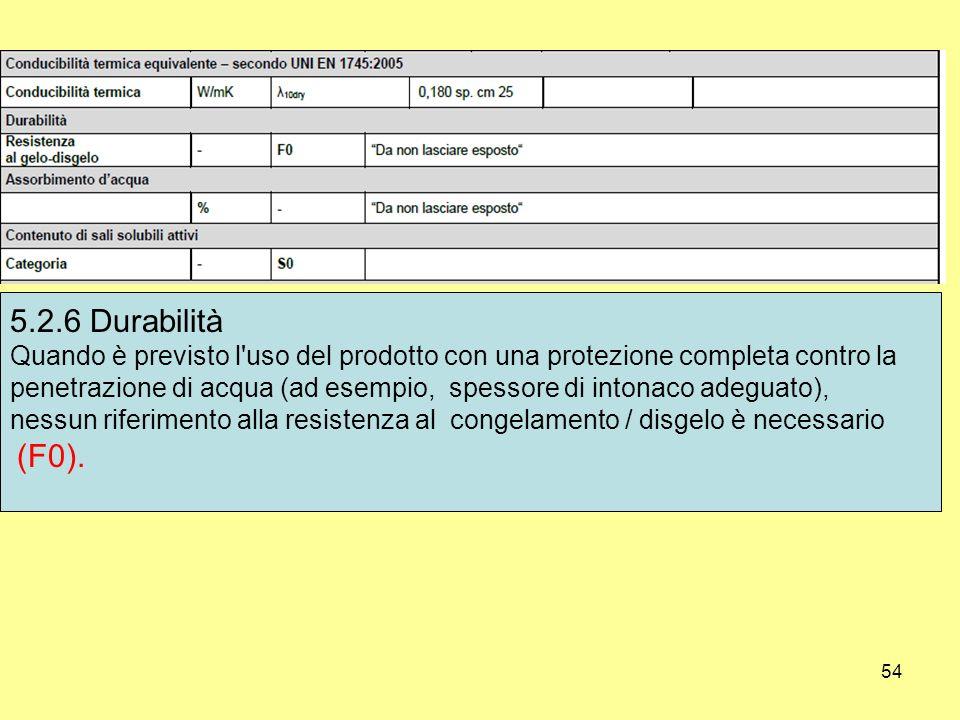 5.2.6 Durabilità Quando è previsto l uso del prodotto con una protezione completa contro la.