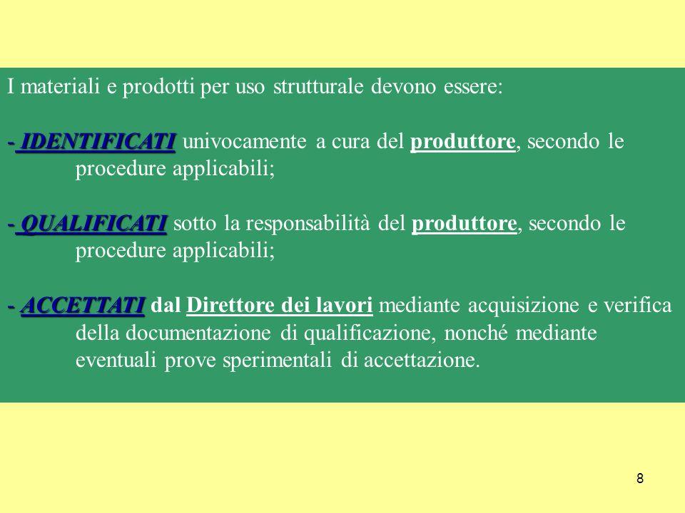 I materiali e prodotti per uso strutturale devono essere: