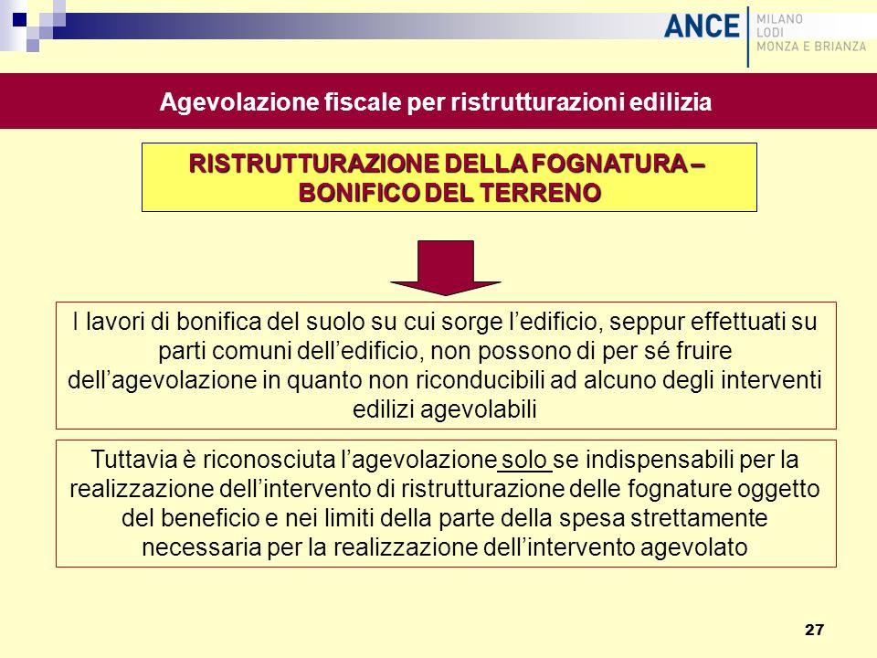 Agevolazione fiscale per ristrutturazioni edilizia