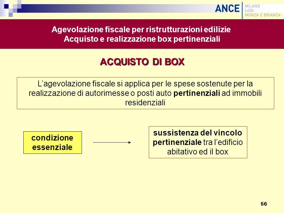 ACQUISTO DI BOX Agevolazione fiscale per ristrutturazioni edilizie