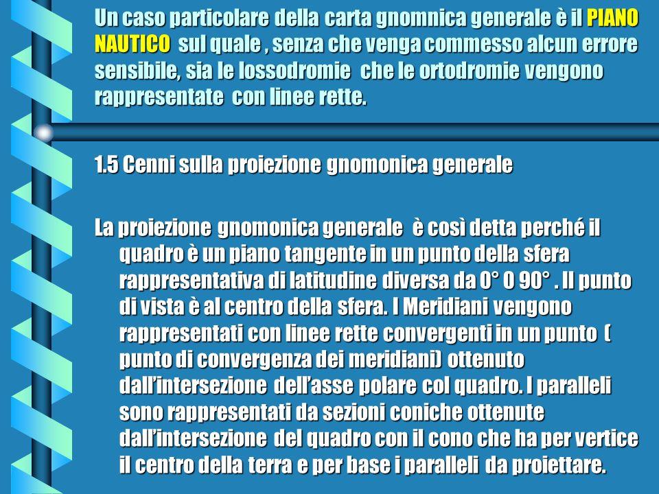Un caso particolare della carta gnomnica generale è il PIANO NAUTICO sul quale , senza che venga commesso alcun errore sensibile, sia le lossodromie che le ortodromie vengono rappresentate con linee rette.