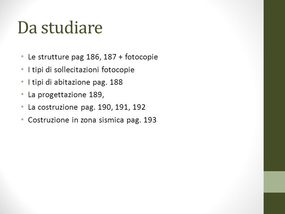 Da studiare Le strutture pag 186, 187 + fotocopie