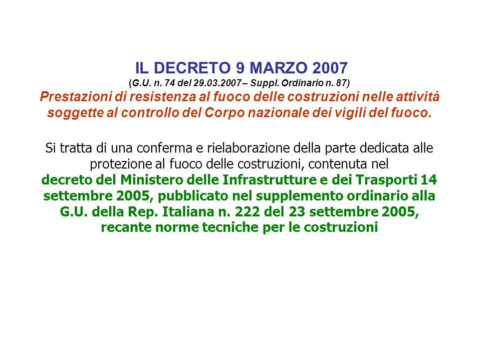 IL DECRETO 9 MARZO 2007 (G. U. n. 74 del 29. 03. 2007 – Suppl