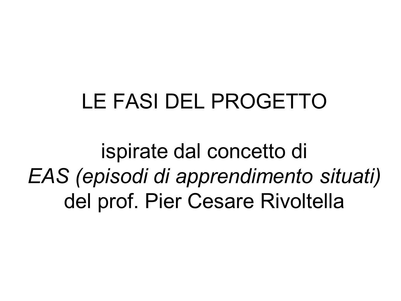 LE FASI DEL PROGETTO ispirate dal concetto di EAS (episodi di apprendimento situati) del prof.