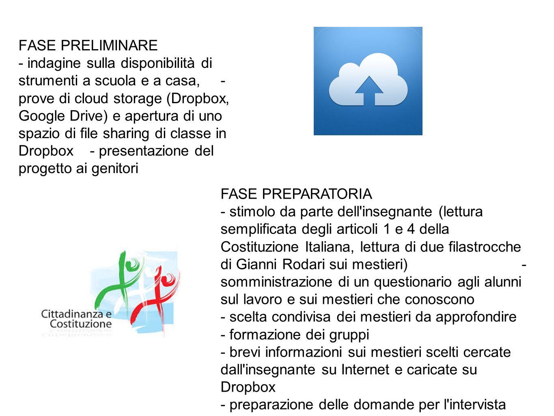 FASE PRELIMINARE - indagine sulla disponibilità di strumenti a scuola e a casa, - prove di cloud storage (Dropbox, Google Drive) e apertura di uno spazio di file sharing di classe in Dropbox - presentazione del progetto ai genitori