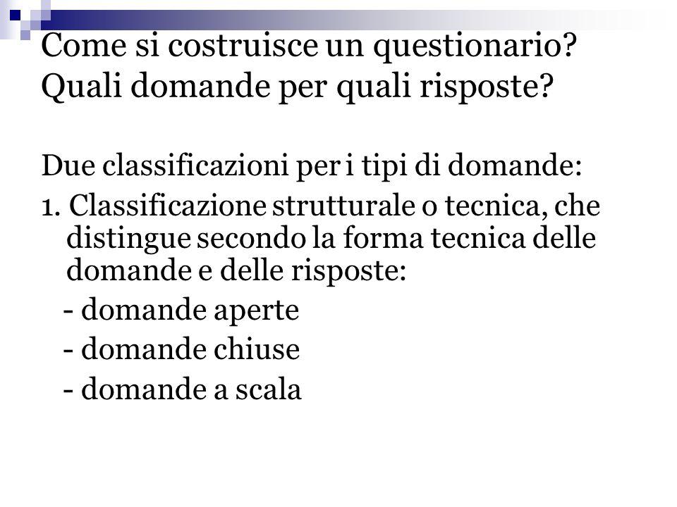 Come si costruisce un questionario Quali domande per quali risposte