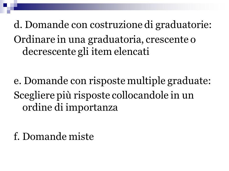 d. Domande con costruzione di graduatorie: